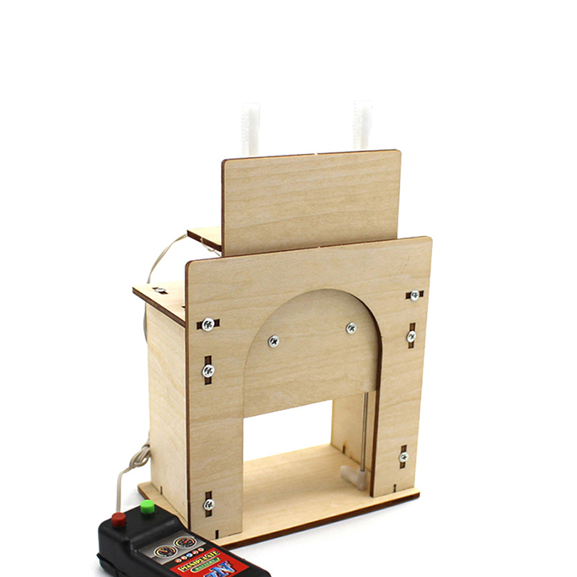 Funny DIY Wooden Lift Door DIY Primary And Secondary School Technology Homemade House Garage Model Electric Door Kit
