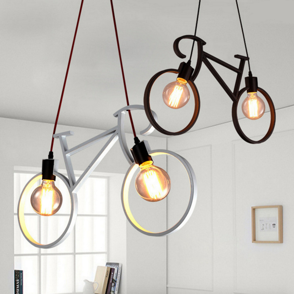 Nordic Creative Bike Chandelier Art Restaurant Kids Room Bedroom Light Simple Corridor Aisle Terrace Lights LED and Edison Lamps vintage clothing store personalized art chandelier chandelier edison the heavenly maids scatter blossoms tiny cages