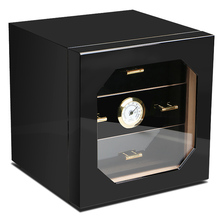 Promotion Price! COHIBA Black High Glossy Cedar Wood Cigar Cabinet Humidor Storage Box W/ 3 Drawers Hygrometer Humidifier
