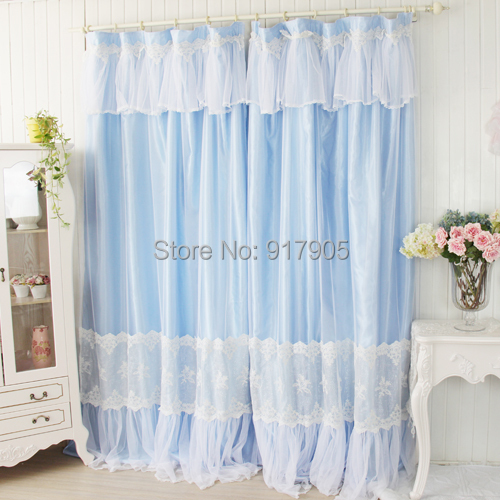 Designer Blue Lace Curtains Modern S Home Goods Elegant White Princess Bed Room Fashion Window Shades