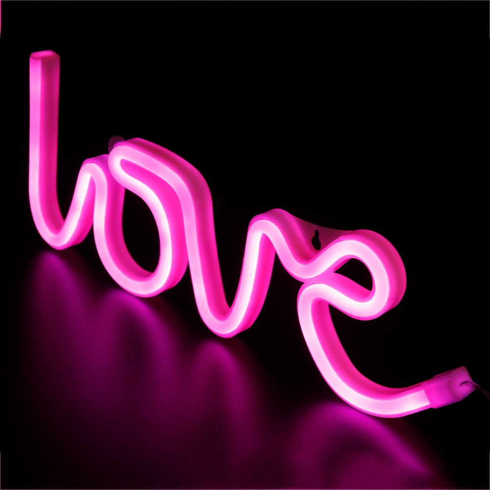 2 Color LOVE Battery Lamp Luminous LED Letter Night Light Romantic Wedding Party Christmas Valentine's Day Festival Decoration C