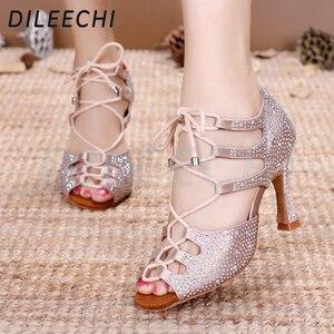 Image 5 - DILEECHI femmes chaussures de danse latine peau Satin brillant grand petit strass chaussures de danse Flare talon 9cm pied étroit ajuster la largeur