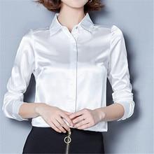 Women Silk Satin Blouse Button Turn-down Collar Long Sleeve Shirts Ladies Office Elegant Tops Female Work High Quality Blouses