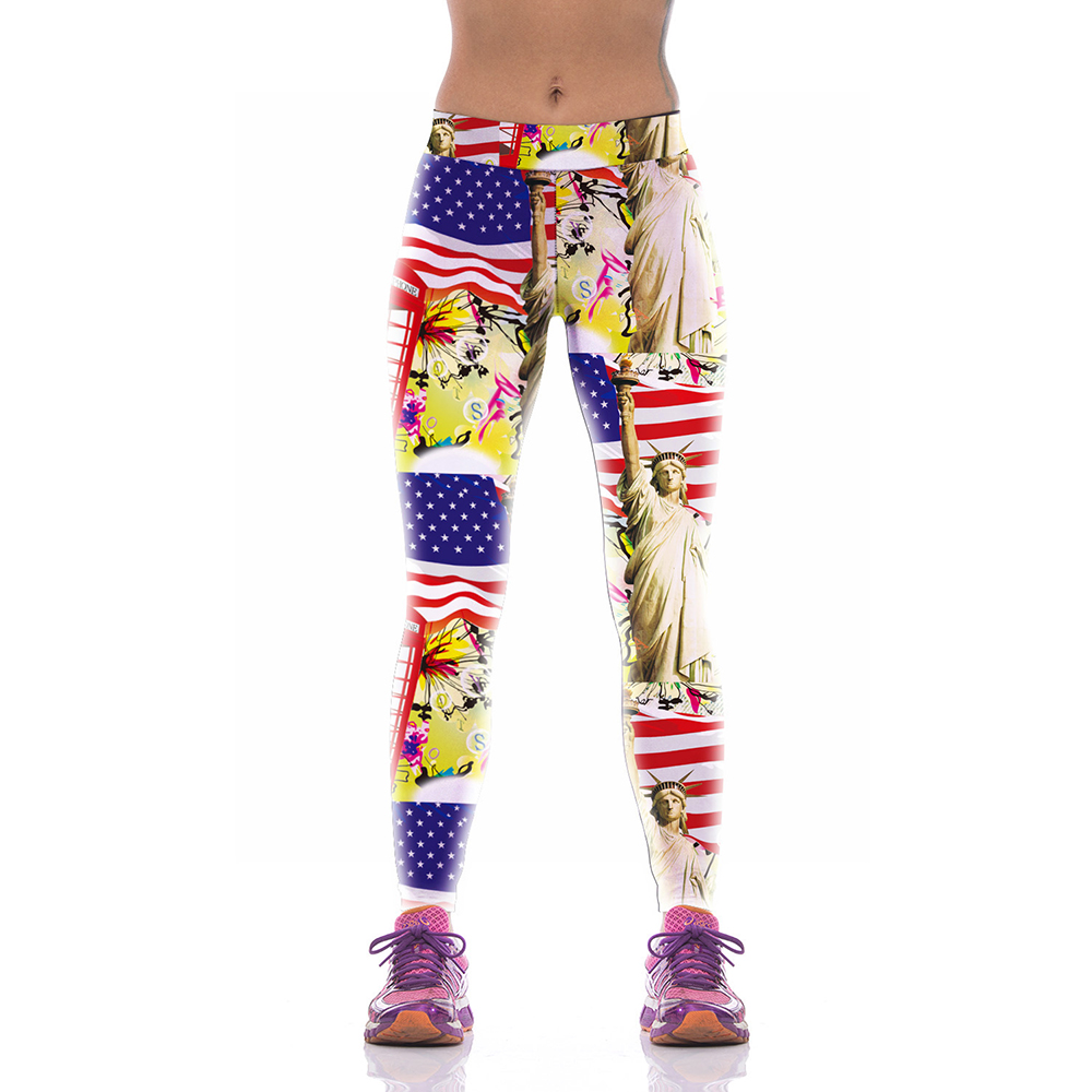 NEW KYK1006 Sexy Girl Women USA Flag Statue of Liberty 3D Prints High Waist Polyester Fitness Women Leggings Jogger Pants Plus