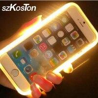 Chất Lượng cao LED Ảnh Tự Sướng Điện Thoại Phát Sáng Trường Hợp Nắp Lưng Cho iPhone 6 6 s Cô Gái Flash Light Up Ảnh Tự Sướng Glowing Trường Hợp Điện Thoại Cho iPhone