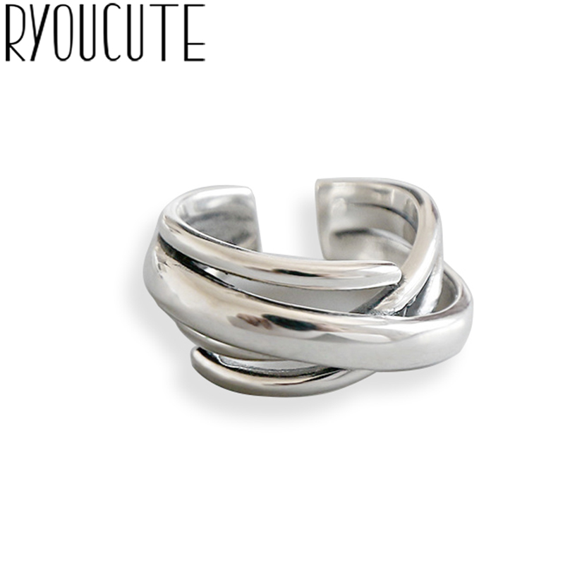 RYOUCUTE Real Pure 925 Sterling Silver Jewelry Korean Smooth Big Round Rings For Women Wedding Finger Open Ring Anillos Anelli