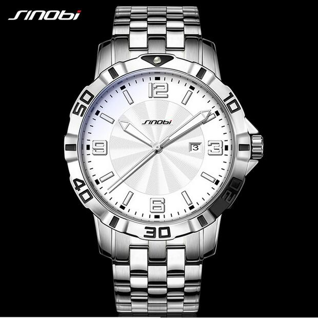 SINOBI Top Brand Luxury Wrist watches Stainless Steel Watch Men Watch 3Bar Waterproof Men's Watch Clock saat erkek kol saati