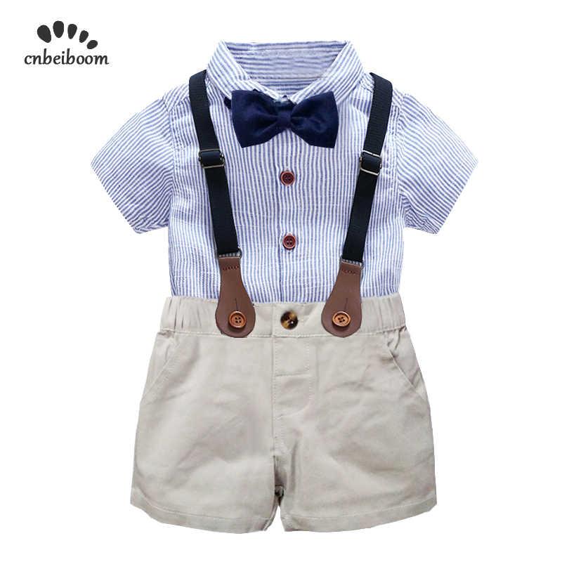 75443b4b41be4 kids boys clothing set gentlemen outfits 2019 summer newborn baby boy bow  tie shirt+overall