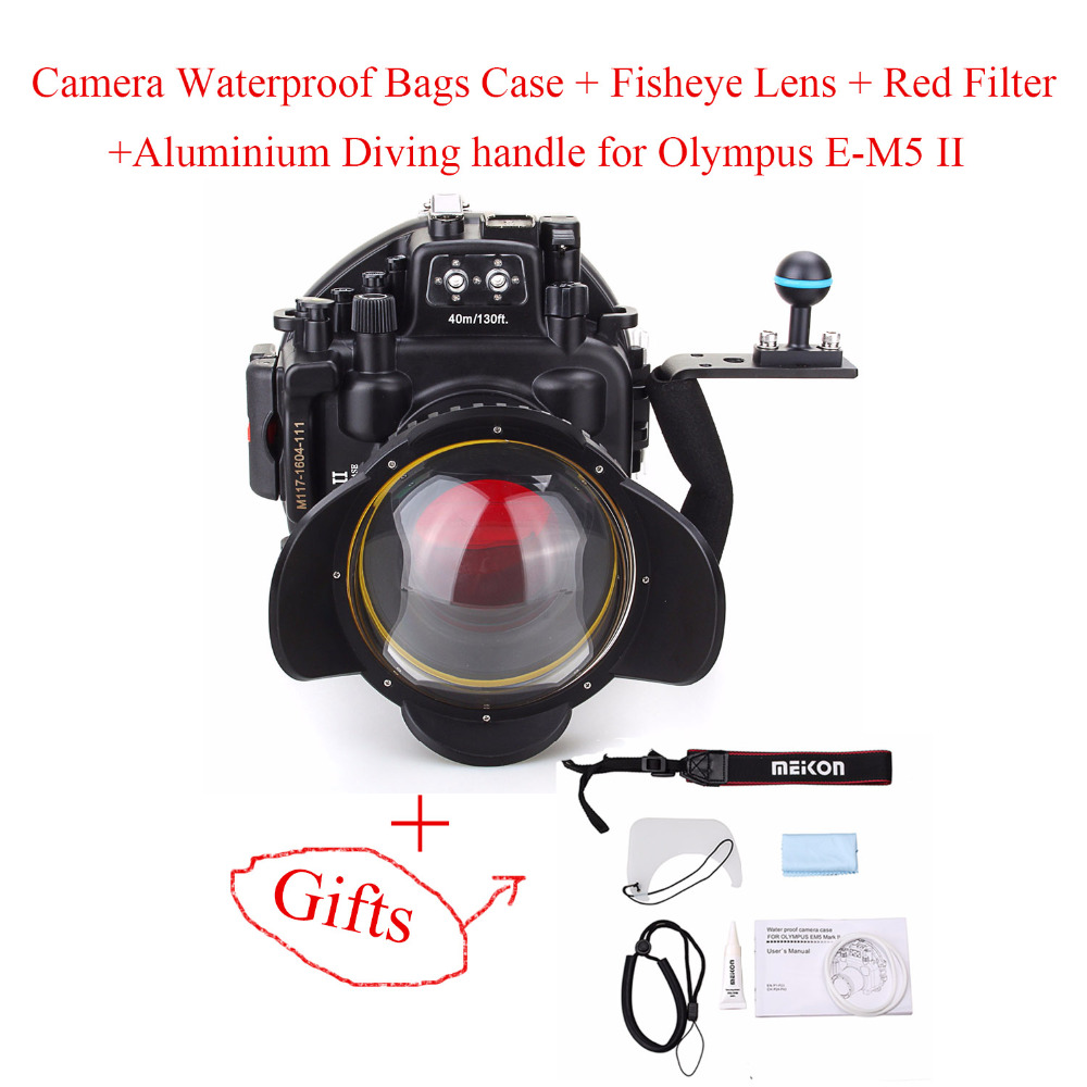 40M/130ft Waterproof Underwater Camera Housing Case for Olympus E-M5 II with 12-50mm Lens +Fisheye Lens+Red Filter+Diving handle 40m 130ft waterproof underwater camera housing diving case cover for sony dsc rx100 iv rx100 m4 rx100 mark4 dhl free shipping
