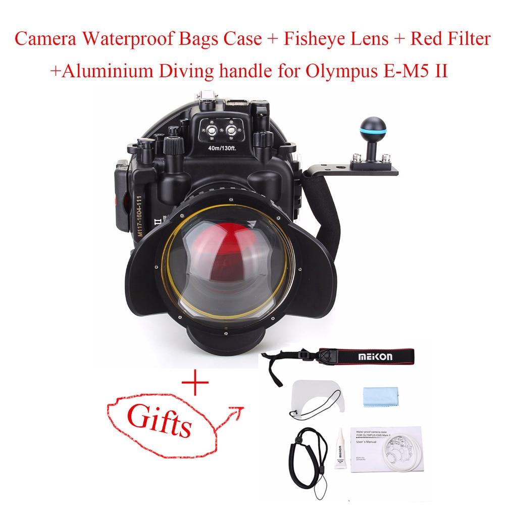 40M/130ft Waterproof Underwater Camera Housing Case for Olympus E-M5 II with 12-50mm Lens +Fisheye Lens+Red Filter+Diving handle meikon 40m 130ft underwater waterproof camera housing case for sony a6000 16 50 lens red filter
