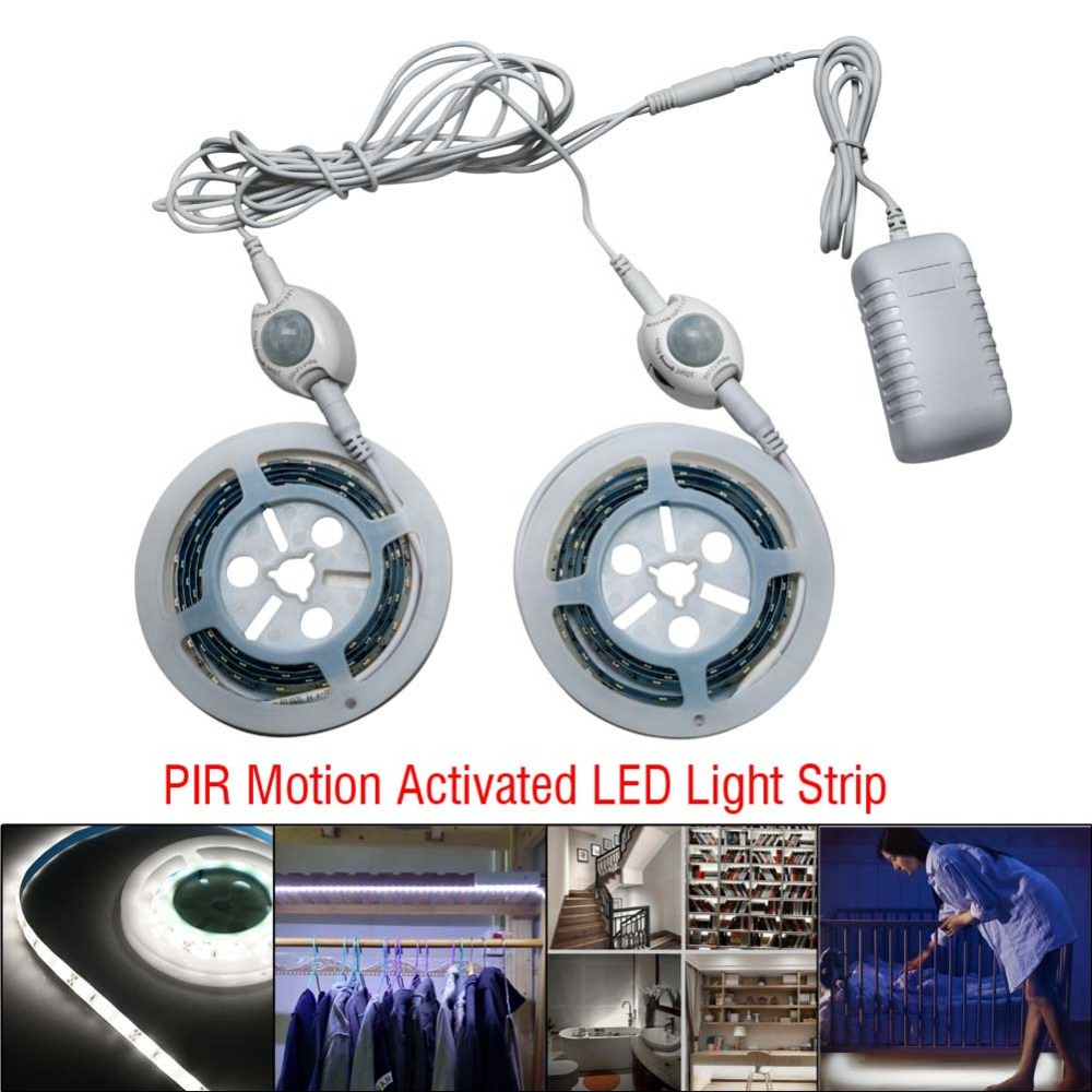 Smart PIR Motion Activated Flexible LED Auto ON//OFF Light Strip Bedside Lamp New