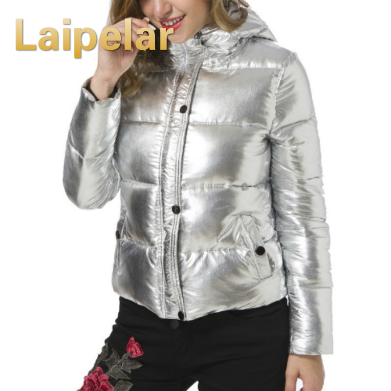 Women Winter Jackets Short Warm Coat Silver Metal Color Bread Style 2018 Ladies   Parka   Winterjas Dames Abrigos Mujer Invierno