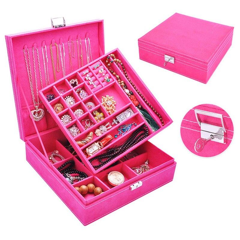 Boîte à bijoux en bois daim Double face boîte de rangement de bijoux pour femmes boucle d'oreille anneau cosmétique organisateur cercueil décorations