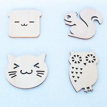 1 Piece Wooden Cartoon Animal Desktop Mat Dining Table Placemat Coaster Kitchen Accessories Mat Cup Bar Mug Drink Pads