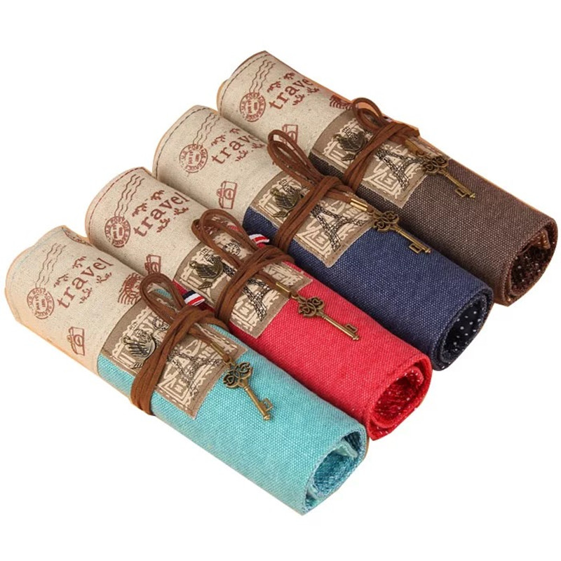 Pencil Bags Retro Canvas Painting Stationery Roll Pencil Case Sketch Pencil Brush Bag Kits Rolling Up Holders Pouch Pencil Bags