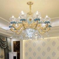 Luksusowe ceramiczne żyrandol atmosfera salon wiszące hali światło sypialnia restauracja współczesny doprowadził led kryształowe żyrandole w Żyrandole od Lampy i oświetlenie na