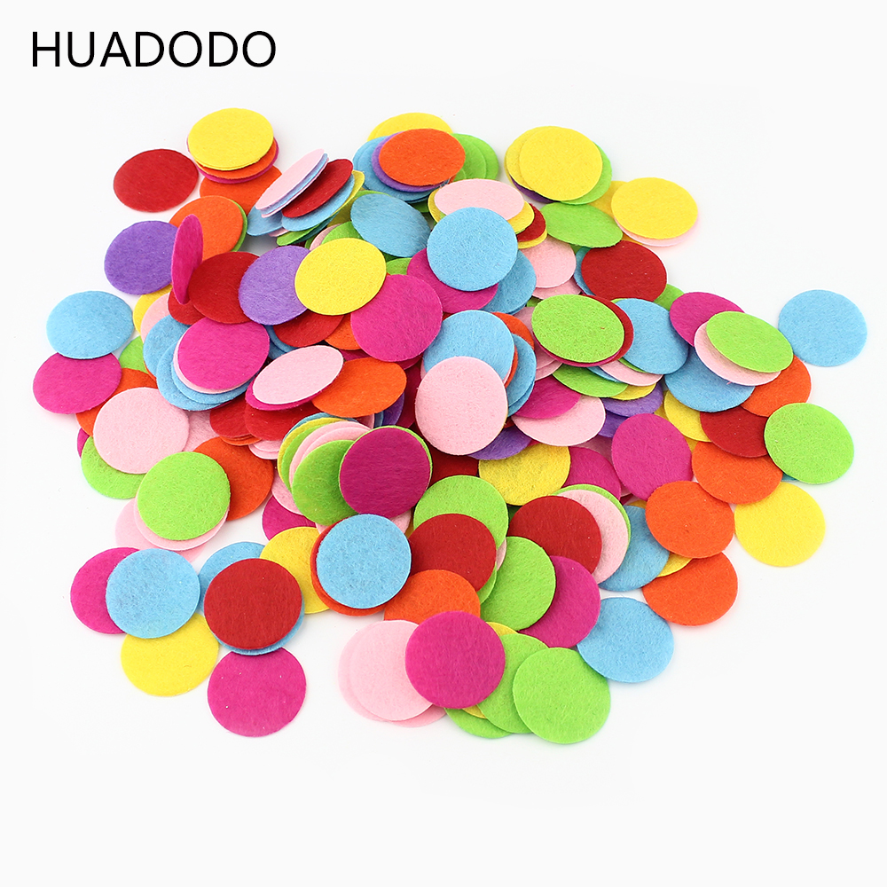 HUADODO 1.5-3cm Πολύχρωμα φιλικά προς το περιβάλλον στρογγυλά πεταλοειδή υφασμάτινα μαξιλαράκια Αξεσουάρ μπαλώματα Circle Felt Pads Αξεσουάρ λουλουδιών υφάσματος