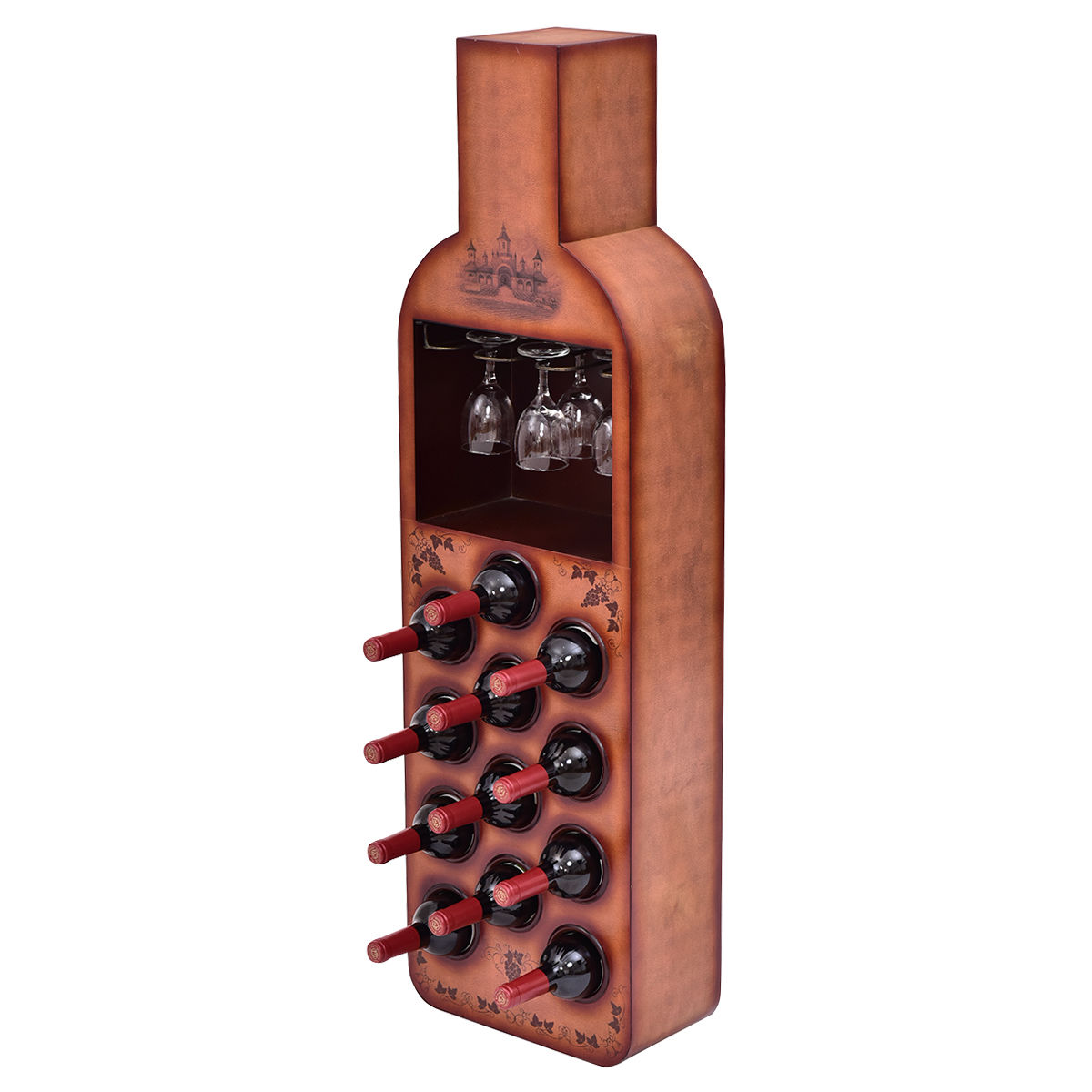 Online Shop Goplus 12 Bottles Wine Rack New Bottle Shaped Wine