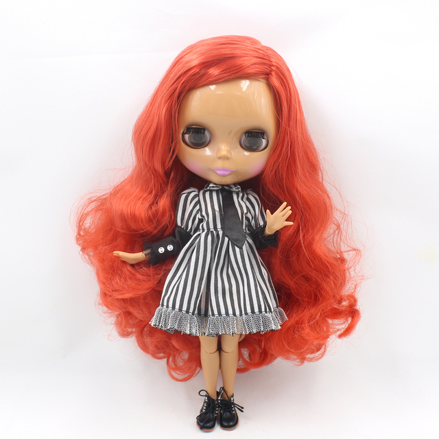Factory Neo Blythe Doll Curly Deep Red Hair Jointed Body 30cm