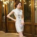 New Arrival Women's Cotton Cheongsam Hot Sale Traditional China Lady Qipao Elegant Slim Dress Flower Size S M L XL XXLF062217