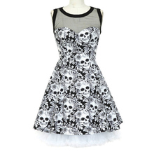 Vintage Style Sleeveless 3D Skull Floral Printed 2018 Summer Women Dress lus Size Party Sexy Casual