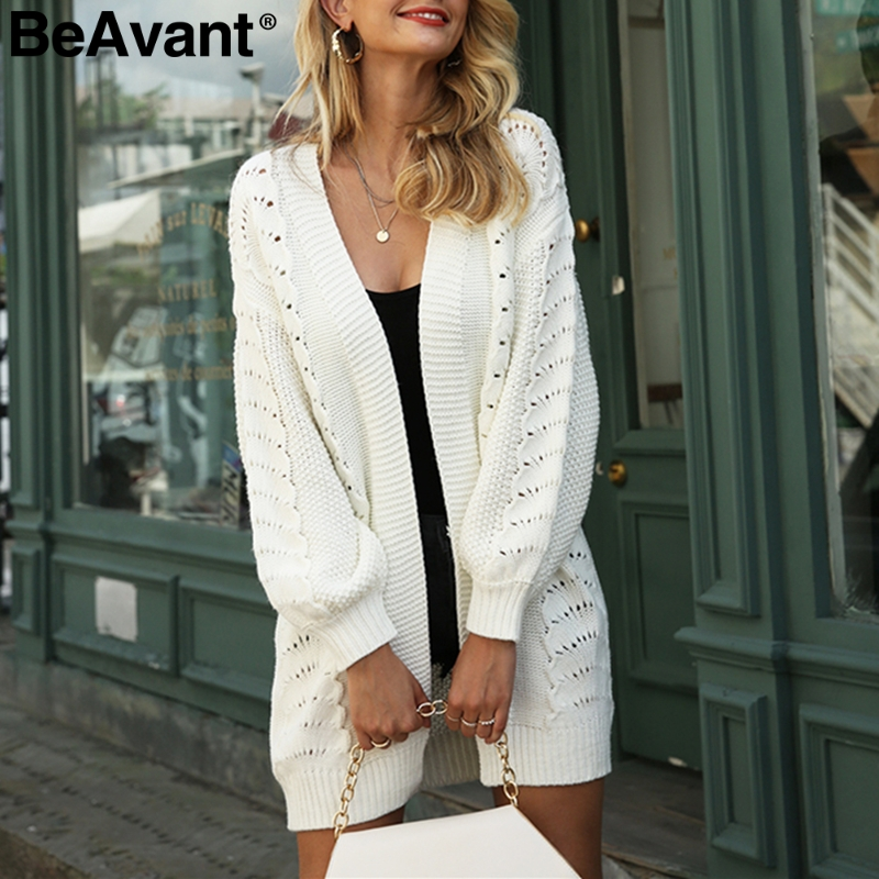 BeAvant Casual Loose Women Long Cardigans Autumn Hollow Out Female Knitted Sweaters Office Ladies White Sweaters Winter Jackets
