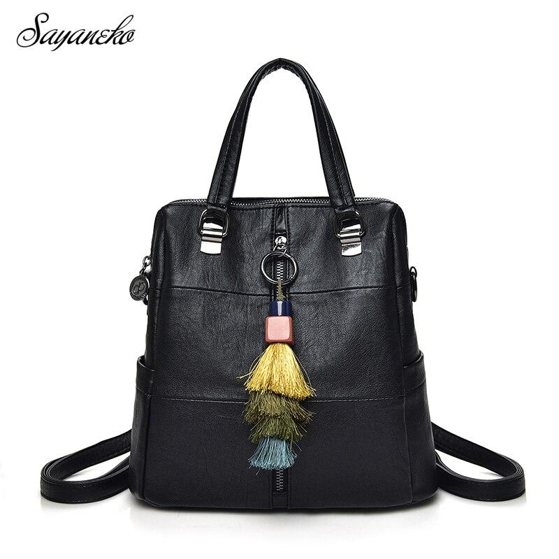 SAYANEKO Backpacks For Women Female softback School bags PU leather girls shoulder bag bolsa mochila feminina Sac a dos rugzak