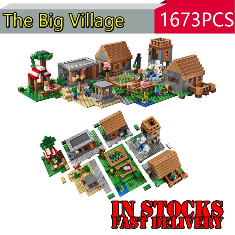 LEPIN 18008 1673pcs My World The Village Minecraft Building Blocks Educational anime action figures toys for children gift 21128 hot toys 10pcs lot generation 1 2 3 juguetes pvc minecraft toys micro world action figure set minecraft keychain anime figures