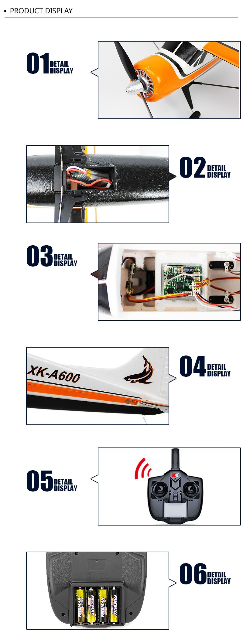 XK DHC-2 A600 -5CH-3D6G System Brushless -RC Airplane- Compatible Futaba -RTF-d