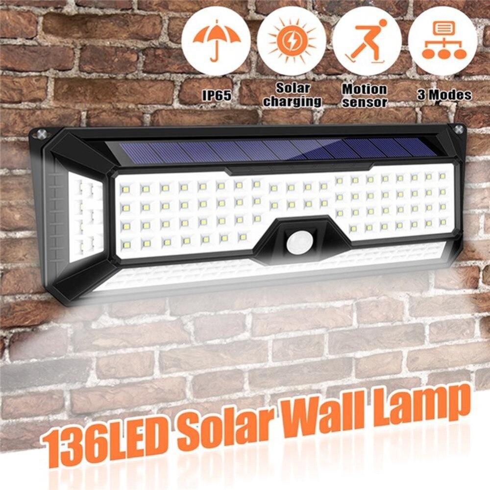 New Outdoor Garden 8 Led Solar Shed Eaves Work Light Lamp: 66/136 LED Solar Light PIR Motion Sensor Wall Lamp