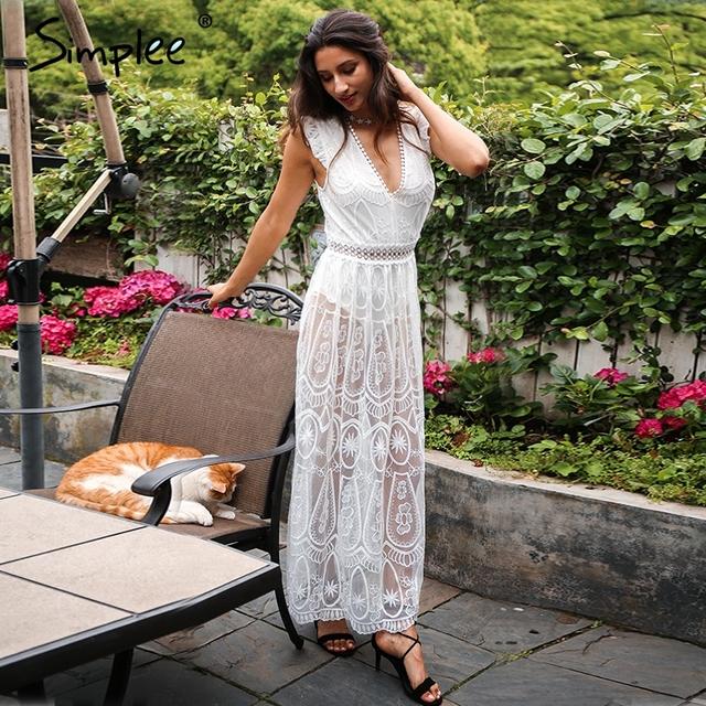 Simplee Vintage backless ruffle summer dress women Sexy deep V transparent lace dress Hollow out long dress vestidos de fiesta