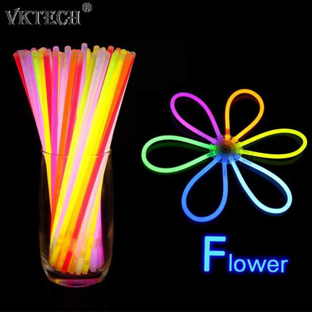 100pcs Fluorescence Light Glow Sticks Bracelets Necklaces For Wedding Party Festival Stage Costume Glowstick Neon