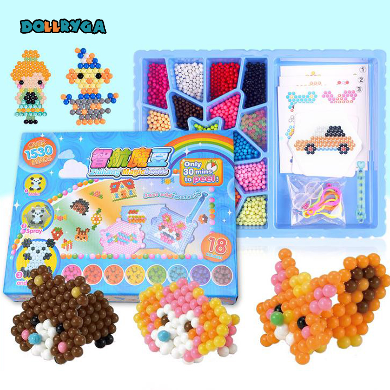 DOLLRYGA 1530 PCS Boxed Magical Bead Solid Bead Refill Pack Water Sticky Beads Pegboard Set Water Bead Puzzle Toy For Children