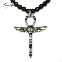 Thomas Matt Black Obsidian Beads And Angel Wings Cross Pendant Necklace Rebel Heart Jewelry Gift For