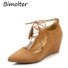 Bimolter Women Back Lace-up Wedges Thick Heels Sheep Suede Shoes 8cm High Brand Pumps Pointed Toe Party Wedding C054