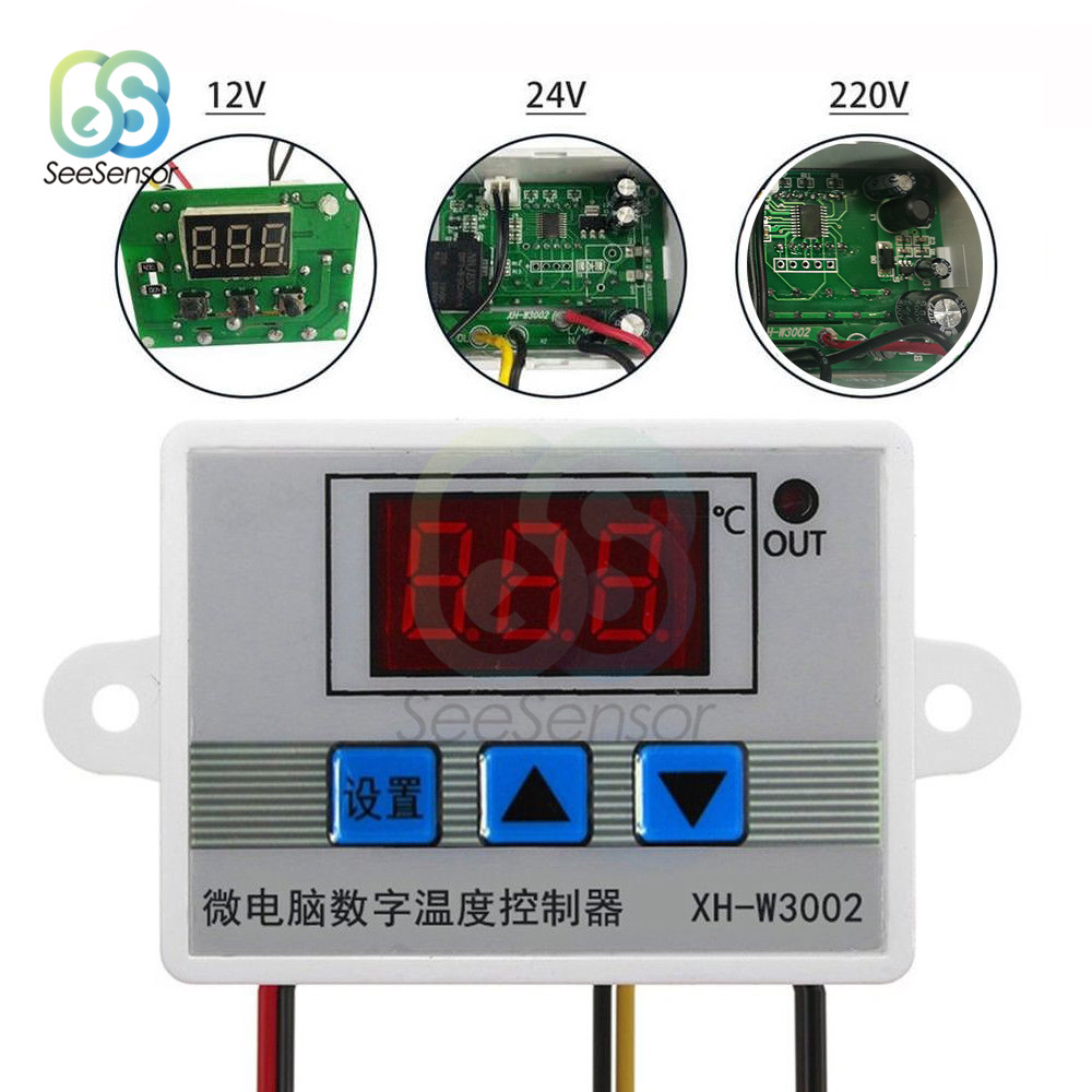 <font><b>W3002</b></font> 12V 24V 220V LED Digital Temperature Controller Thermostat Control Switch Thermoregulator Sensor Meter With Probe XH-<font><b>W3002</b></font> image
