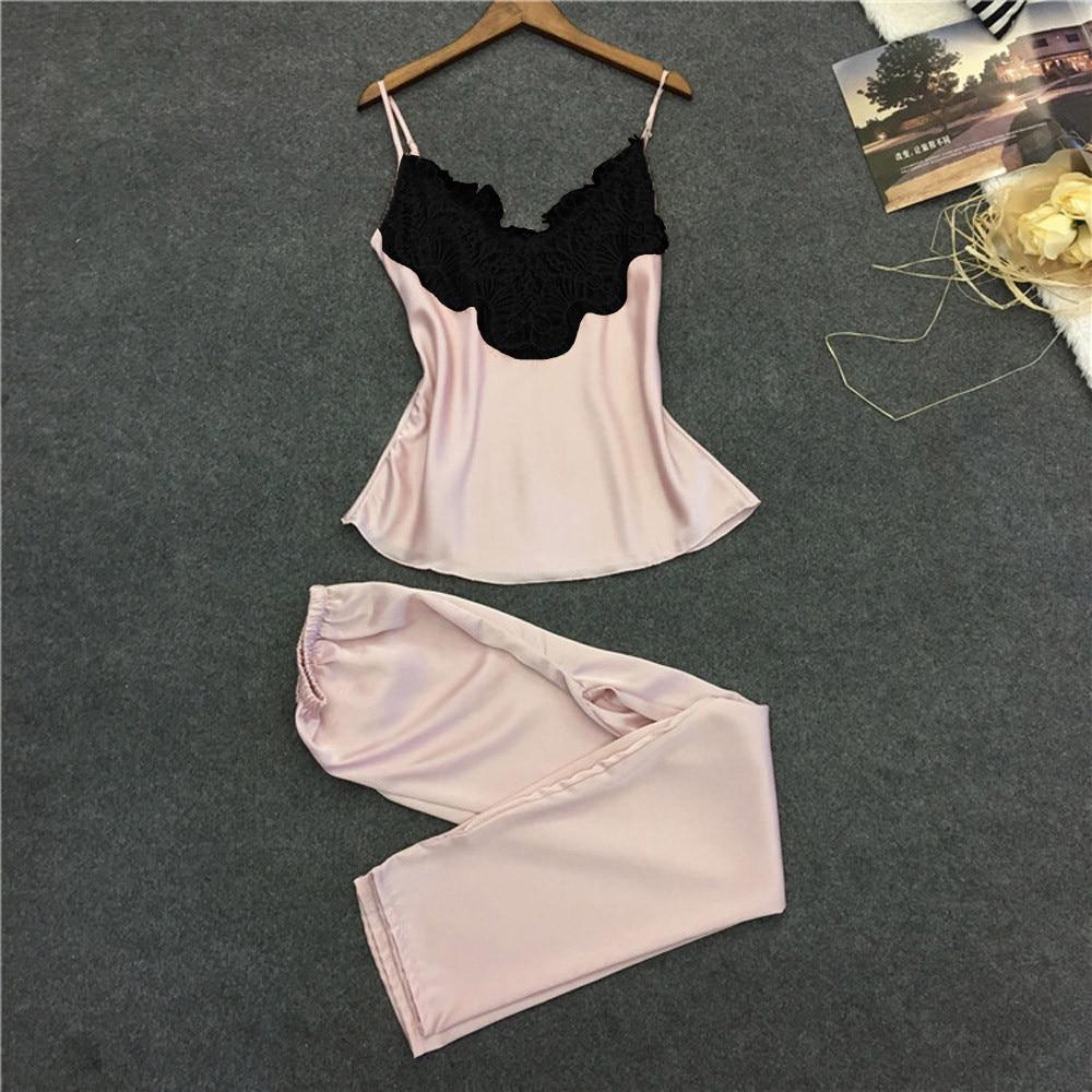 2Pcs Ladies Sexy Satin Silk Sleepwear Babydoll Lingerie Nightdress Pyjama Suit Pyjamas Pour Femmes Ropa De Hogar Para Mujeres