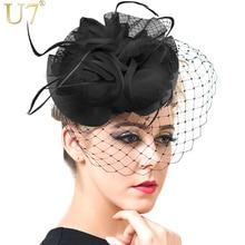 U7 veil fascinator de la pluma accesorios para el cabello joyería de las mujeres de estilo europeo negro cóctel de la boda del sombrero de la novia headwear f302