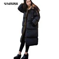 Cappotto di inverno più il formato 3XL nero femmina giacca imbottita con cappuccio Oversize in cotone piumini bayan kaban extra long donne parka