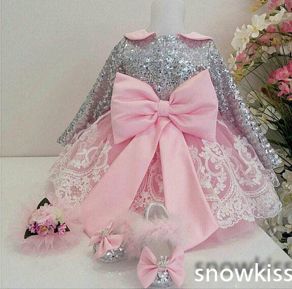 2016 Bling Long Sleeves Pink Lace Appliques flower girl dresses with Bow baby Birthday Party Dress toddler girl pageant dress