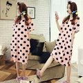 New Nightskirt plus thin cotton Women Short sleeve princess Nightgown for women Lovely Cartoon loose Leisure Home clothes