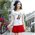 XXXL 2016 осень зима 2 шт. набор женщин футболки и шорты feminino короткие электронной blusa conjunto-женский набор короткие и блузка B0317