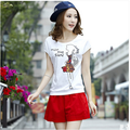 XXXL 2016 autumn winter 2 piece set women t shirts and shorts conjunto feminino short e blusa-female set short and blouse B0317