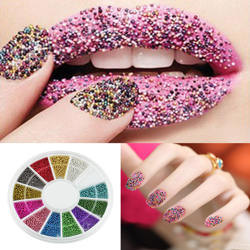 1PCS DIY Manicure Acrylic Glitter Beads Nail Art Tips Decoration Charms For Nails Design 3D Decoration Round Wheel 12 Colors diy 3d glitter nail art rhinestones crystal wheel design mix colors acrylic uv gel nail tips gems decoration manicure tools