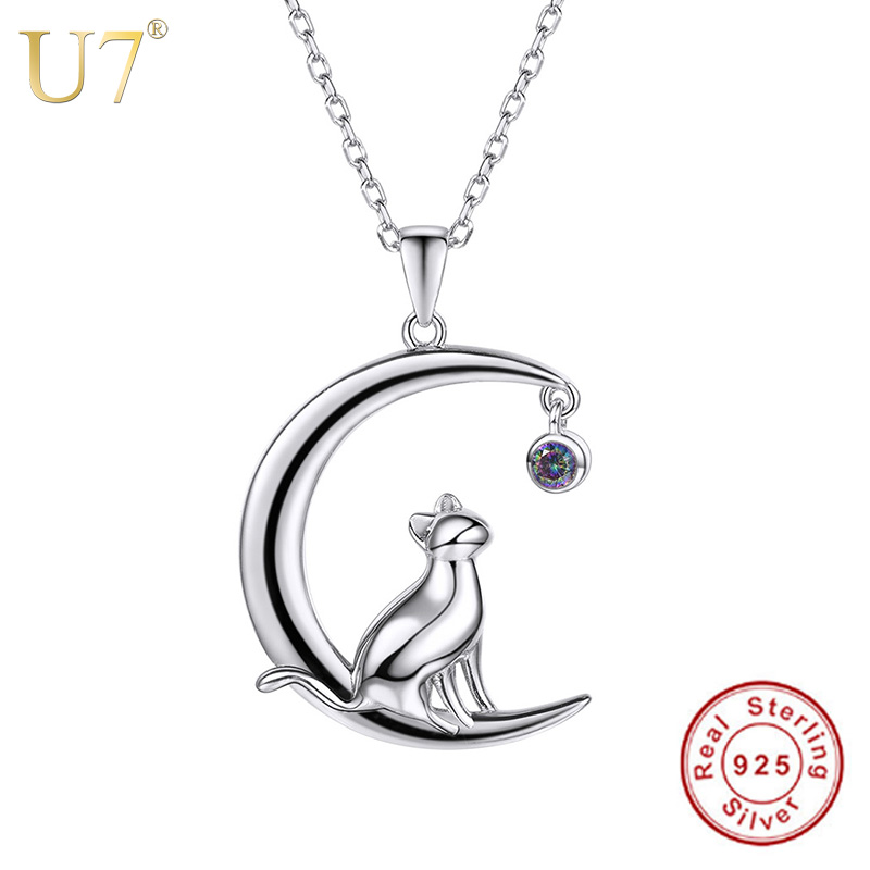 U7 Authentic 100% 925 Sterling Silver Cat Moon Necklace Meditation Women Jewelry Silver 925 Chain & Pendant Valentine Gift SC17 u7 100