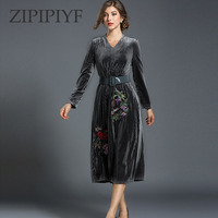 ZIPIPIYF 2017 Autunm Women Velvet Dress Plus Size Long Sleeve Sexy Dresses High Waist V Neck
