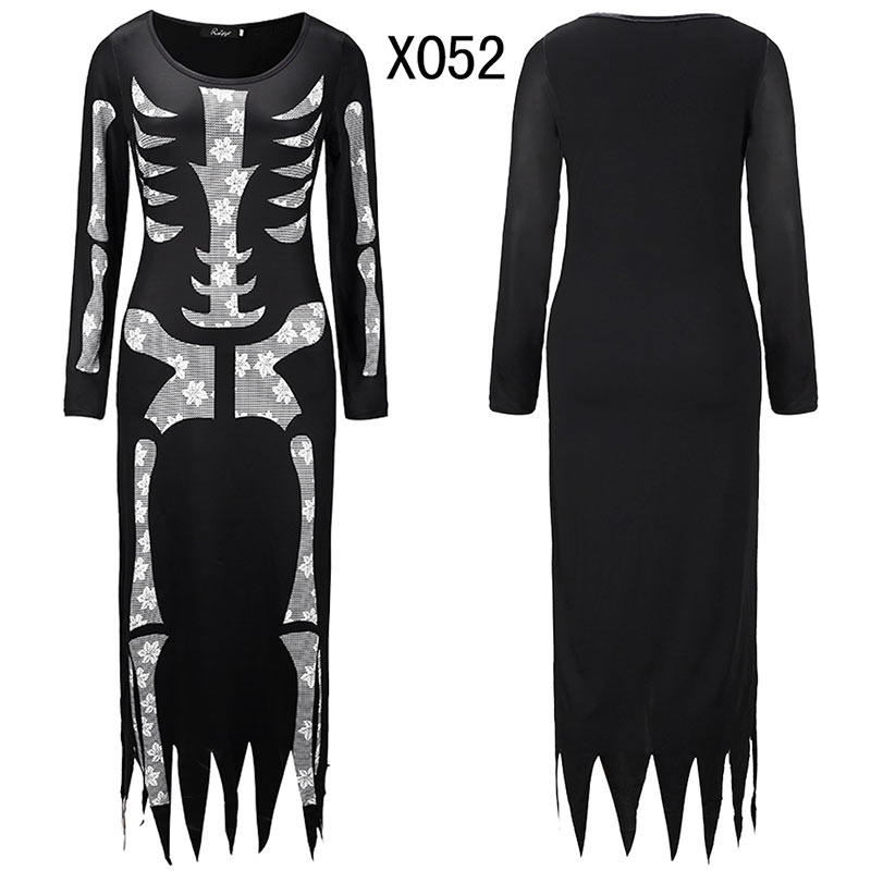 Women Halloween Jumpsuits Costumes Ghost Festival Horror Skeleton Conjoined Gowns Party Sexy Performance Rompers Cosplay Clothes (48)