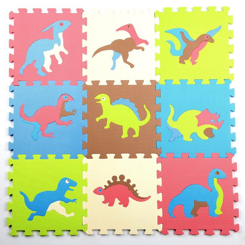 9pcs Set Dinosaur Foam Mat Rug Puzzle Baby Crawling Mat