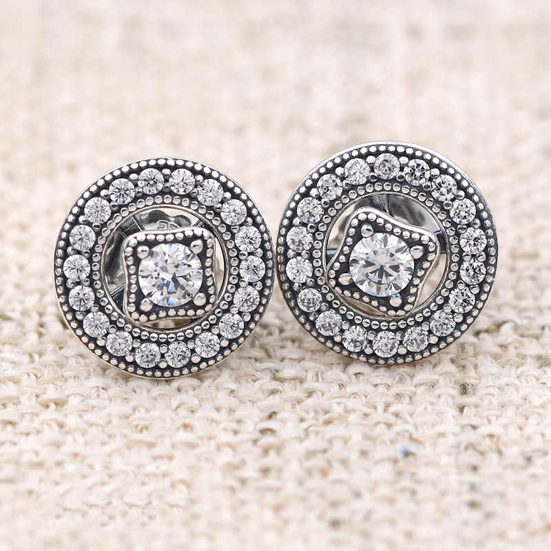 24844f0f0 Authentic 925 Sterling Silver Earring Vintage Allure With Crystal Studs  Earrings For Women Wedding Gift Fine