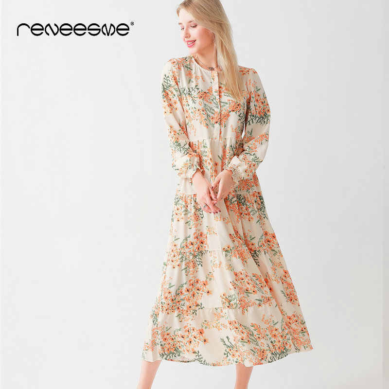 new women summer dress loose floral print long sleeve o neck bohemian chic pleated ladies dresses elegant holiday beach vestidos